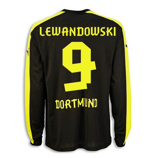 best service fad71 228ba 2013-14 Borussia Dortmund Away Long Sleeve Shirt (Lewandowski 9)