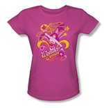 WONDER WOMAN Stars Swirls Fuchsia Juniors Graphic T Shirt