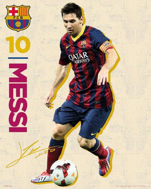 Barcelona Messi Vintage 13/14 Mini Poster