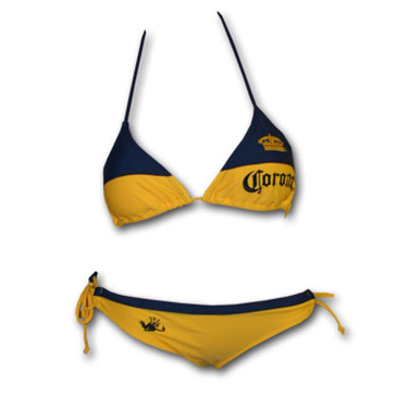 6adffa29a Buy CORONA EXTRA Navy Blue Embroidered Yellow Bikini Swimsuit