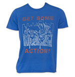 Men's Blue Junk Food JUSTICE LEAGUE Get Some Action T-Shirt