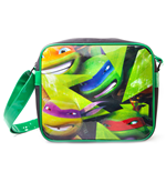 TEENAGE MUTANT NINJA TURTLES (TMNT) Messenger Bag with Faces Design, Black/Green