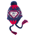 DC COMICS SUPERMAN Woven Acrylic Beanie Hat with Classic Logo and Braided Ties, Multi-Coloured