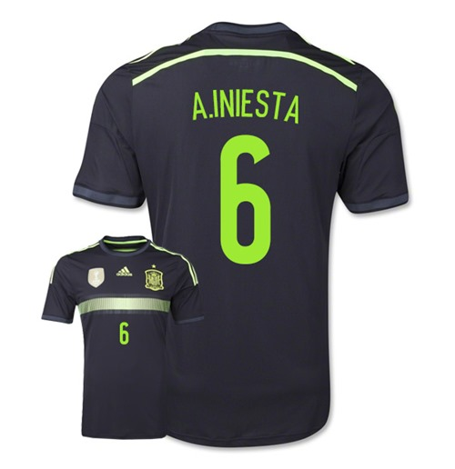 2014-15 Spain Away World Cup Shirt (A.Iniesta 6)