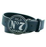 JACK DANIEL'S Leather Belt with Classic Old No.7 Circular Black Belt Buckle, Large