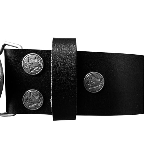 JACK DANIEL'S Black Belt with Classic Old No. 7 Metallic Silver Oval Belt Buckle, Small