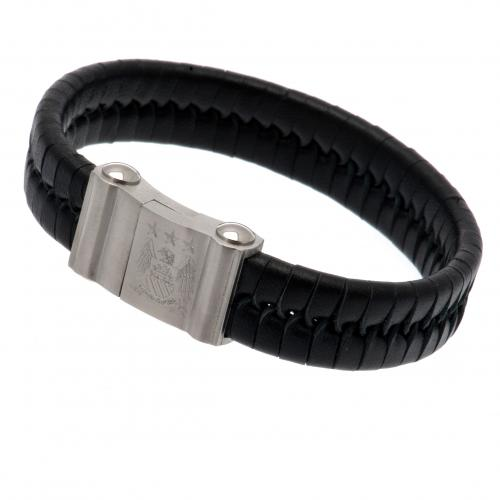 Manchester City F.C. Single Plait Leather Bracelet