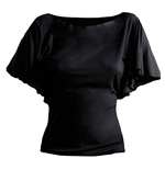 SPIRAL Plain Latin Visco Top with Boat Neck, Adult Female, Small, Black