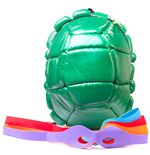 TEENAGE MUTANT NINJA TURTLES (TMNT) Turtle Shield Shell Backpack with Mask, Green/Green