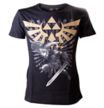 ZELDA Men's Gold Link Logo Medium T-Shirt, Black