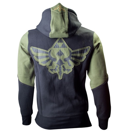 NINTENDO LEGEND OF ZELDA Small Mens Hoodie with Zelda Back Design, Green/Black