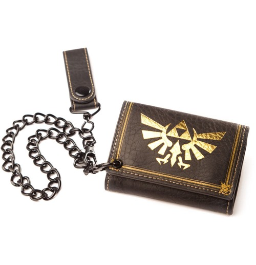 NINTENDO LEGEND OF ZELDA Leather Tri-fold Chain Wallet, Black