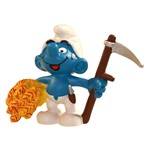 The Smurfs Figure Farmer Smurf with skythe 6 cm Case (6)