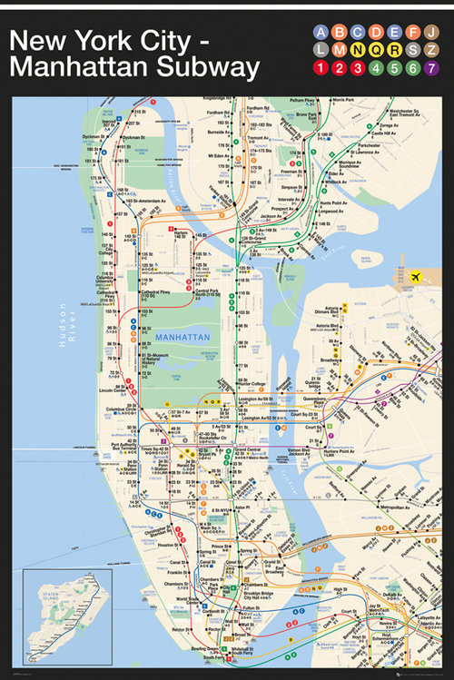 New York Manhattan Subway Map Maxi Poster
