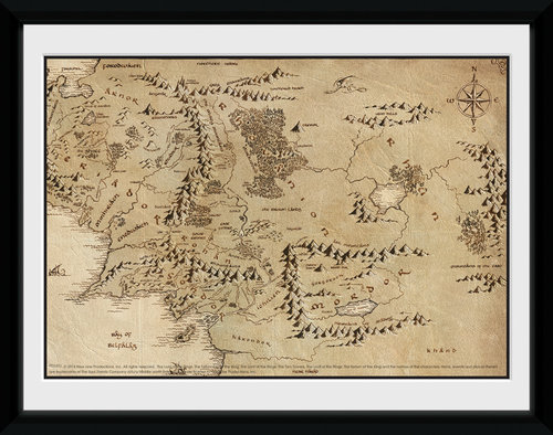 Lord Of The Rings Map Framed Collector Print