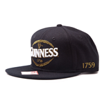 GUINNESS Snapback Baseball Cap with Embroidered Logo, Black
