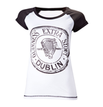 GUINNESS Girls Extra Stout Dublin Large Skinnie Shirt, Black/White