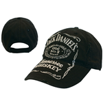 JACK DANIEL'S Adjustable Cap with Classic Distressed Old No. 7 White Logo, Black