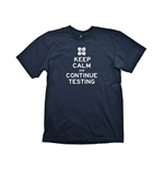 PORTAL 2 Keep Calm & Continue Testing Medium T-Shirt, Navy Blue