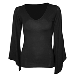 SPIRAL Gothic Elegance V Neck Goth Sleeve Top, Long Sleeve, Adult Female, Medium, Black