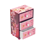 Mia and Me - wooden jewellery box with three drawers, gift wrapped. 10x7x16 cm