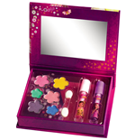 Jewelry box with 2 pots of lip gloss and 6 eye shadows with brushes and mirror - 16 pc, 33x28x30 cm
