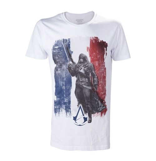 ASSASSIN'S CREED Unity French Tricolour Flag Small T-Shirt, Adult Male, White