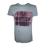 DESTINY Hunter on Red Blocks Pattern Large T-Shirt, Grey