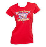 WONDER WOMAN Red Junior's Flying Tee Shirt