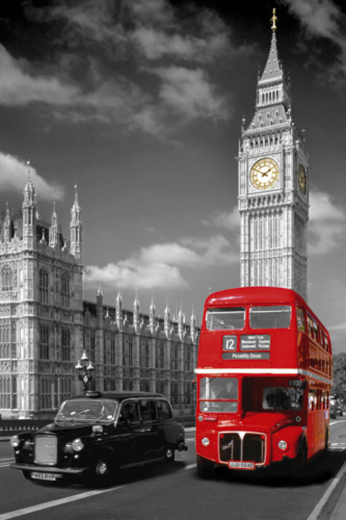 London Big Ben Bus and Taxi Maxi Poster