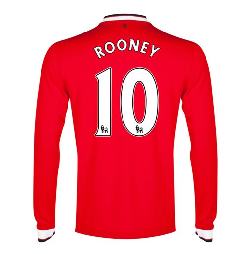 2014-15 Man Utd Long Sleeve Home Shirt (Rooney 10) - Kids