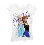 Disney FROZEN Girls 7-16 White Elsa And Anna Tee Shirt