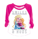 Disney FROZEN Girls 7-16 Pink Raglan Sleeve Tee Shirt