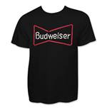 BUDWEISER Men's Neon Sign Black T-Shirt