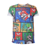 NINTENDO Super Mario Bros. All-Over Mario and Co Large T-Shirt