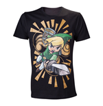 NINTENDO Legend of Zelda Wind Waker Link Attacks Small T-Shirt, Black