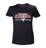 NINTENDO Legend of Zelda Classic Retro Pixelated Logo Large T-Shirt, Black