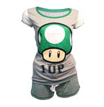 NINTENDO Super Mario Bros. Female Green 1-UP Mushroom Shortama Nightwear Set, Extra Large, Grey/Green