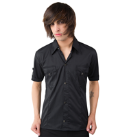 Black Pistol Cuff Shirt Fine Denim