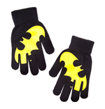 DC COMICS Batman Gloves with Rubber Yellow Logo, Black