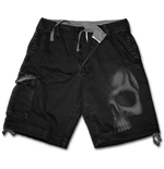 Shadow Skull (GREY) - Vintage Cargo Shorts Black