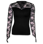 Gothic Elegance - Lace Neck Goth Top Black
