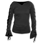 Gothic Elegance - Laceup Sleeve Top Black