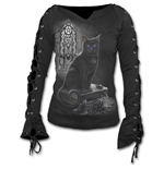 Witch Cat - Laceup Sleeve Top Black