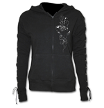 Entwined - Laceup Full Zip Glitter Hoody Black