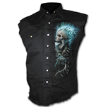 Flaming Spine - Sleeveless Stone Washed Worker Black