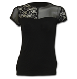 Gothic Elegance - Contrasting Lace and Mesh Panel Top