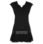Gothic Rock - Stud Waist Mini Dress Black
