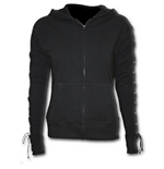 Gothic Rock - Laceup Full Zip Glitter Hoody Black