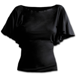Gothic Elegance - Boat Neck Bat Sleeve Top Black